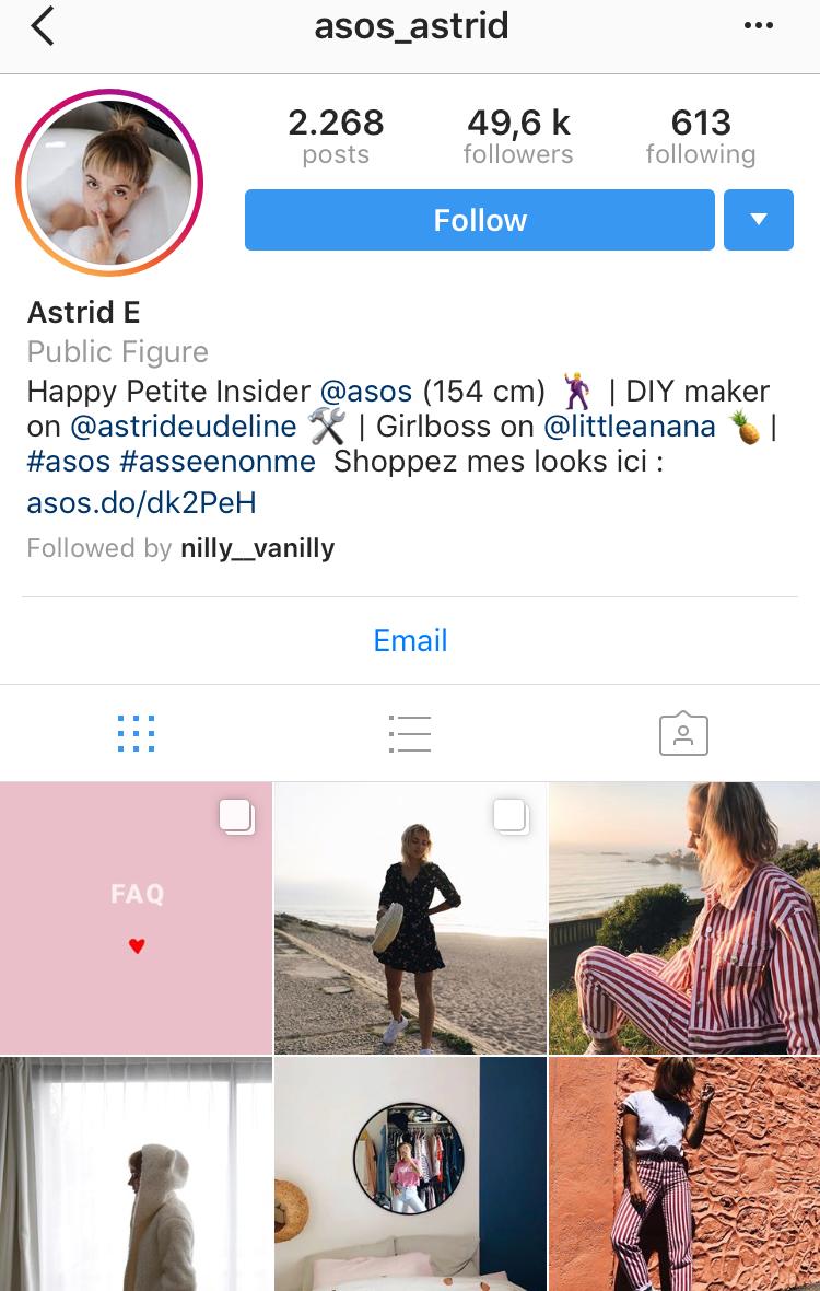 ASOS e-commerce Instagram