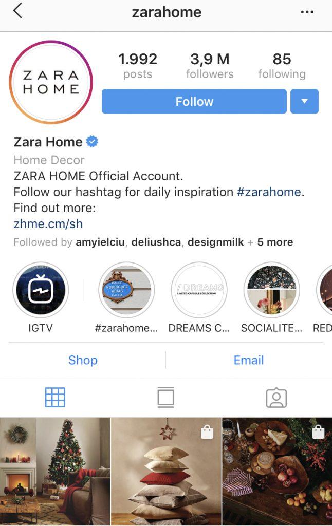 Holiday Instagram Marketing tips - Zara Home