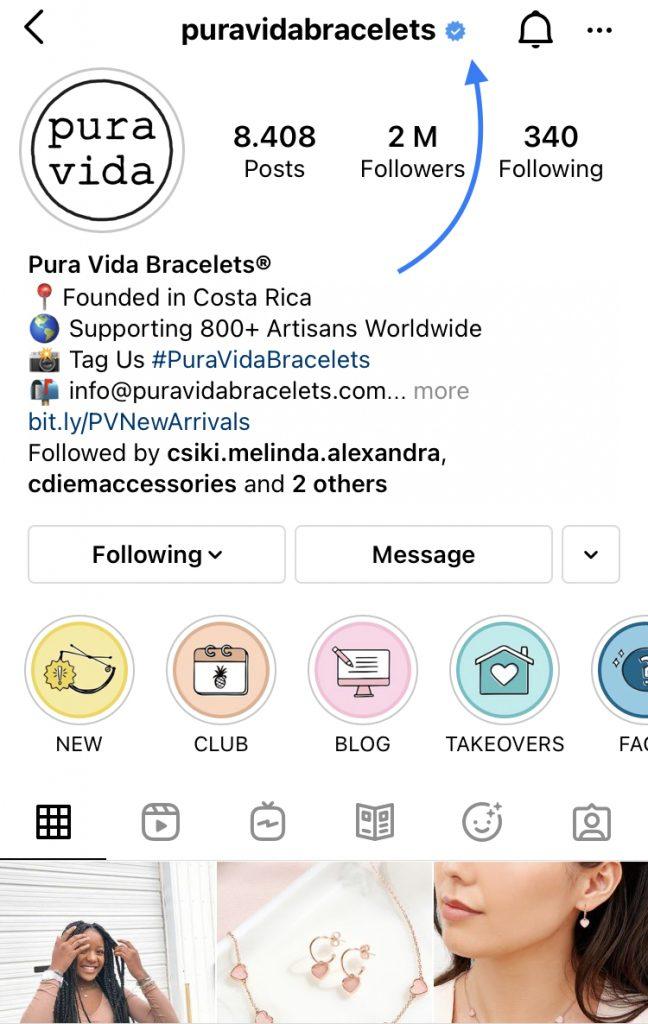 verification badge as social proof on Instagram