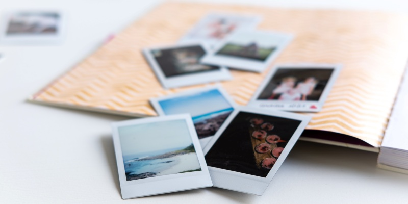 Polaroid photos laid out
